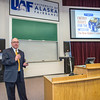 "Cory Borgeson, President and Chief Executive Officer for Golden Valley Electric Association, addressed the Fairbanks community with a presentation on energy issues Jan. 10 in Schaible Auditorium. Borgeson is also an adjunct professor with UAF's School of Management teaching a class on business law each semester.  <div class=""ss-paypal-button"">Filename: LIF-13-3694-20.jpg</div><div class=""ss-paypal-button-end"" style=""""></div>"