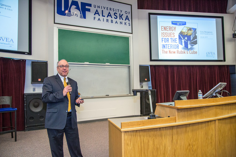 """Cory Borgeson, President and Chief Executive Officer for Golden Valley Electric Association, addressed the Fairbanks community with a presentation on energy issues Jan. 10 in Schaible Auditorium. Borgeson is also an adjunct professor with UAF's School of Management teaching a class on business law each semester.  <div class=""""ss-paypal-button"""">Filename: LIF-13-3694-20.jpg</div><div class=""""ss-paypal-button-end"""" style=""""""""></div>"""