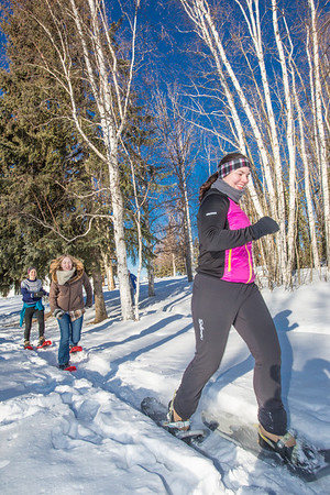 Participants in the second annual Troth Yeddha' Park Snowshoe Scramble make their way towards the home stretch Saturday, March 1 to help raise awareness for the proposed park to help celebrate Alaska's Native culture.  Filename: LIF-14-4079-60.jpg