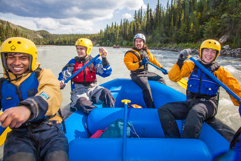 """Participants in a UAF Outdoor Adventures day-long raft trip paddle down the Nenana River.  <div class=""""ss-paypal-button"""">Filename: OUT-12-3492-111.jpg</div><div class=""""ss-paypal-button-end"""" style=""""""""></div>"""