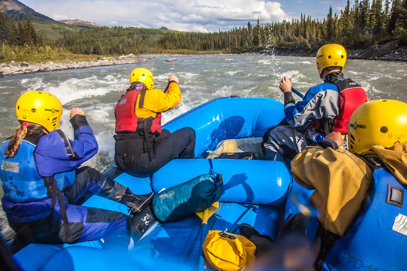"Participants in a UAF Outdoor Adventures day-long raft trip paddle down the Nenana River.  <div class=""ss-paypal-button"">Filename: OUT-12-3492-159.jpg</div><div class=""ss-paypal-button-end"" style=""""></div>"