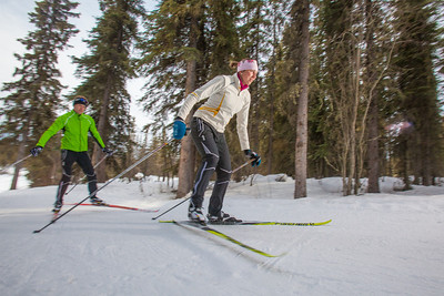 UAF students Ian Wilkinson and Raphaela Sieber enjoy a morning loop around the campus ski trails.  Filename: LIF-12-3348-19.jpg
