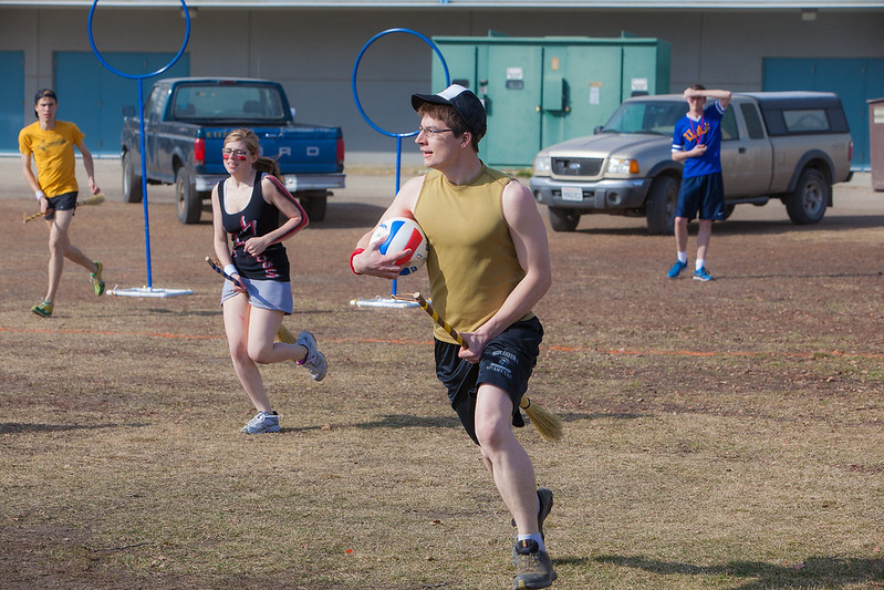 """Participants in the quidditch club, UAF's newest intramural sport, play a competitive match during SpringFest 2012.  <div class=""""ss-paypal-button"""">Filename: LIF-12-3382-41.jpg</div><div class=""""ss-paypal-button-end"""" style=""""""""></div>"""