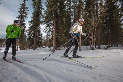UAF students Ian Wilkinson and Raphaela Sieber enjoy a morning loop around the campus ski trails.  Filename: LIF-12-3348-06.jpg