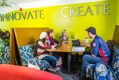 Students mingle and study in the Nook computer lounge in the Bunnell Building on the Fairbanks campus.  Filename: LIF-13-3987-40.jpg