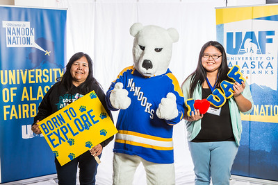 Future UAF students and family members pose with the Nanook mascot during Inside Out.  Filename: LIF-16-4839-74.jpg