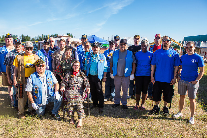 "Student Veterans of UAF joins other veterans in a group photo after the opening ceremony of the 2013 Midnight Sun Intertribal Powwow.  <div class=""ss-paypal-button"">Filename: LIF-13-3881-23.jpg</div><div class=""ss-paypal-button-end"" style=""""></div>"