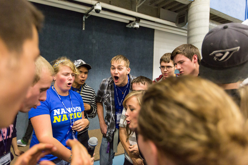 """A group of incoming students chant a recently created cheer during the last event of the New Student Orientation.  <div class=""""ss-paypal-button"""">Filename: LIF-13-3924-207.jpg</div><div class=""""ss-paypal-button-end"""" style=""""""""></div>"""