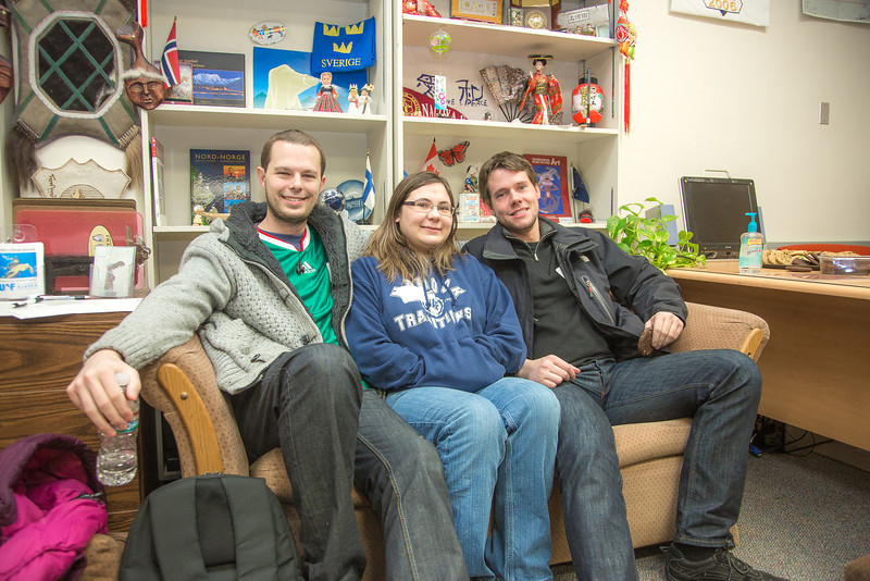 "Martin Herrild, left, an exchange student from Great Britain, and Torge Steensen from Germany, enjoy a rest on the couch in the International Programs office with Jennifer Chambers, who's from Alaska.  <div class=""ss-paypal-button"">Filename: LIF-13-3698-11.jpg</div><div class=""ss-paypal-button-end"" style=""""></div>"