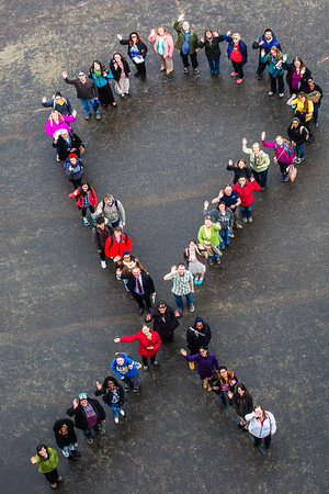 Faculty, students and staff organize a human ribbon on campus for Autism Awareness Month.  Filename: LIF-16-4861-64.jpg