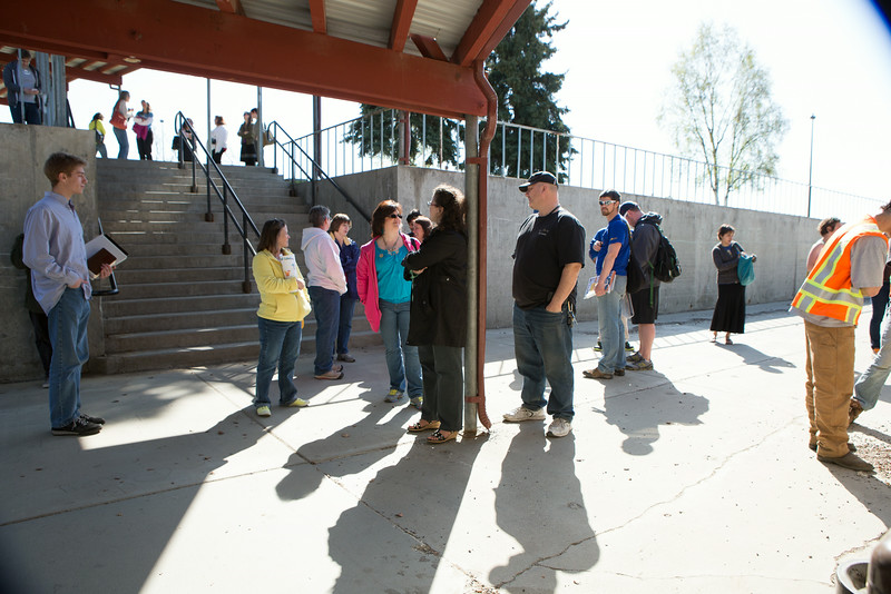 """Staff congregate at the entrance of Lola Tilly Commons before lunch during the Staff Appreciation Lunch in May.  <div class=""""ss-paypal-button"""">Filename: LIF-14-4190-2.jpg</div><div class=""""ss-paypal-button-end""""></div>"""