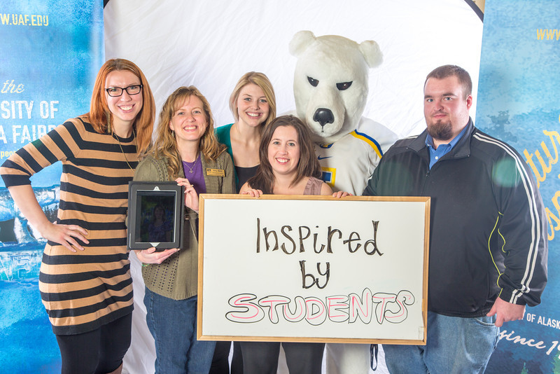 """The UAF admissions staff show what inspires them.  <div class=""""ss-paypal-button"""">Filename: LIF-12-3635-44.jpg</div><div class=""""ss-paypal-button-end"""" style=""""""""></div>"""