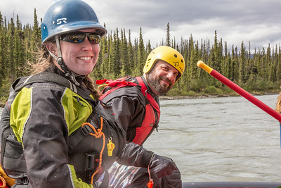 Outdoor Adventures student guides Lily Grabavach and Pat Karr helped lead a group of UAF students and staff on a float trip down the Nenana River in June, 2014.  Filename: OUT-14-4211-206.jpg