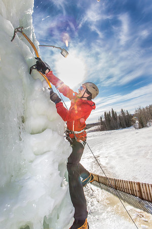 Engineering major Ryan Kudo enjoys a late season climb up the UAF ice wall on April 4.  Filename: LIF-14-4132-171.jpg