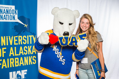 Prospective students take a portrait during the summer 2016 Inside Out event hosted by the UAF's Office of Admissions and the Registrar.  Filename: LIF-16-4926-19.jpg