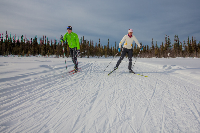 "UAF students Ian Wilkinson and Raphaela Sieber enjoy a morning loop around the campus ski trails.  <div class=""ss-paypal-button"">Filename: LIF-12-3348-57.jpg</div><div class=""ss-paypal-button-end"" style=""""></div>"