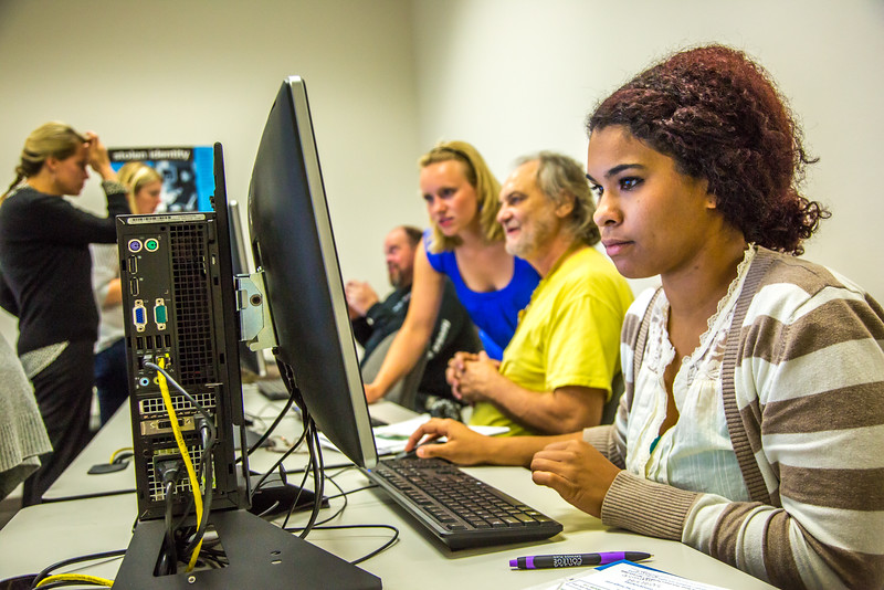 """Staff members are on hand to help with registration during the UAF Community and Technical College's (CTC) fall semester round up.  <div class=""""ss-paypal-button"""">Filename: LIF-15-4619-39.jpg</div><div class=""""ss-paypal-button-end""""></div>"""