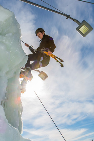 Engineering major Heather Edic enjoys a late season climb up the UAF ice wall on April 4.  Filename: LIF-14-4132-21.jpg
