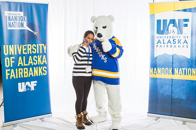 Future UAF students and family members pose with the Nanook mascot during Inside Out.  Filename: LIF-16-4839-55.jpg
