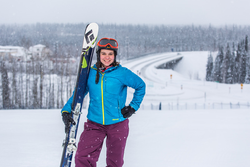 """Outdoor enthusiast Michelle Klaben takes her skis out on the UAF Terrain Park on a snowy afternoon.  <div class=""""ss-paypal-button"""">Filename: LIF-13-3721-170.jpg</div><div class=""""ss-paypal-button-end"""" style=""""""""></div>"""