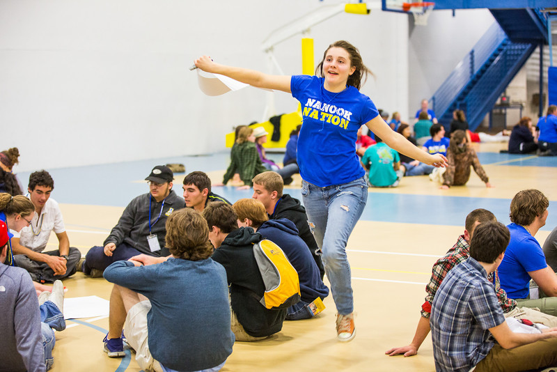 """Emily Jones zigzags around groups of incoming students for a planned activity during New Student Orientation at the Student Rec. Center.  <div class=""""ss-paypal-button"""">Filename: LIF-13-3924-171.jpg</div><div class=""""ss-paypal-button-end"""" style=""""""""></div>"""