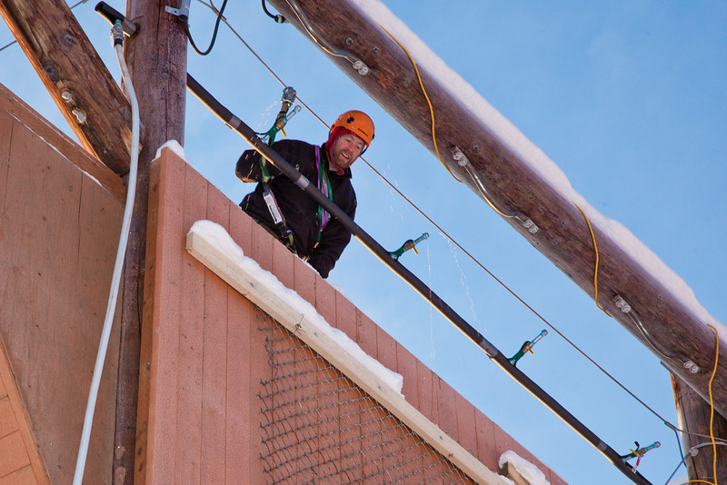 "Outdoor Adventure manager Frank Olive helps prepare the north wall of the outdoor climbing tower for a season of ice climbing.  <div class=""ss-paypal-button"">Filename: LIF-11-3237-54.jpg</div><div class=""ss-paypal-button-end"" style=""""></div>"