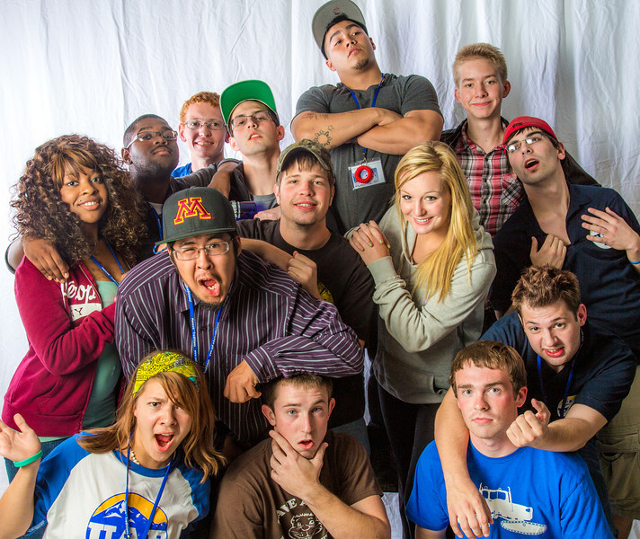"""Students pose in the UAF Facebook photobooth during a back-to-school orientation party in the Wood Center.  <div class=""""ss-paypal-button"""">Filename: LIF-12-3517-164.jpg</div><div class=""""ss-paypal-button-end"""" style=""""""""></div>"""