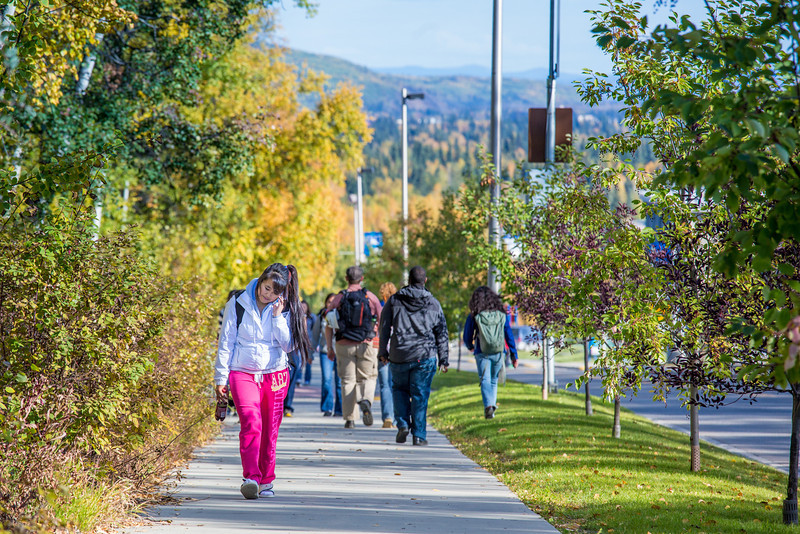 """Students make their way along Yukon Drive on a nice fall afternoon on the Fairbanks campus.  <div class=""""ss-paypal-button"""">Filename: LIF-12-3544-179.jpg</div><div class=""""ss-paypal-button-end"""" style=""""""""></div>"""