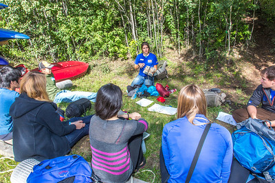 Students go over an outdoor gear checklist before leaving campus for a wilderness experience lead by UAF's Outdoor Adventures program before the beginning of the fall 2013 semester.  Filename: OUT-13-3917-06.jpg