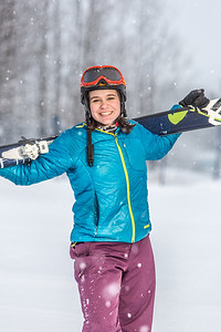 Outdoor enthusiast Michelle Klaben takes her skis out on the UAF Terrain Park on a snowy afternoon.  Filename: LIF-13-3721-145.jpg