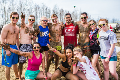 Particpants of the 2016 SpringFest mud volleyball tournament  Filename: LIF-16-4879-267.jpg