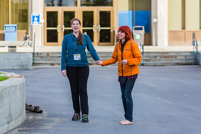 Freshman Montana Troyer, left, gets a lesson in shoe skating during Orientation Week on the Fairbanks campus at the start of the fall 2015 semester.  Filename: LIF-15-4638-034.jpg