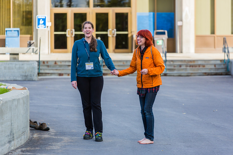 "Freshman Montana Troyer, left, gets a lesson in shoe skating during Orientation Week on the Fairbanks campus at the start of the fall 2015 semester.  <div class=""ss-paypal-button"">Filename: LIF-15-4638-034.jpg</div><div class=""ss-paypal-button-end""></div>"