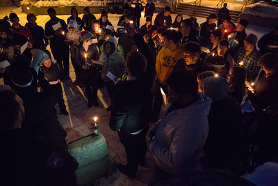 Students commemorate the 1957 Tradition Stone candlelight vigil on Constitution Park in March of 2013.  Filename: LIF-13-3763-28.jpg