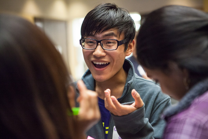 """Chu Wang of China mingle with other international exchange students during an icebreaker activity engaging students to meet others at the International Welcome Mixer Wednesday, July 29, 2012 at the UAF Great Hall, Fine Arts Complex.  <div class=""""ss-paypal-button"""">Filename: LIF-12-3524-10.jpg</div><div class=""""ss-paypal-button-end"""" style=""""""""></div>"""