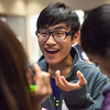"Chu Wang of China mingle with other international exchange students during an icebreaker activity engaging students to meet others at the International Welcome Mixer Wednesday, July 29, 2012 at the UAF Great Hall, Fine Arts Complex.  <div class=""ss-paypal-button"">Filename: LIF-12-3524-10.jpg</div><div class=""ss-paypal-button-end"" style=""""></div>"