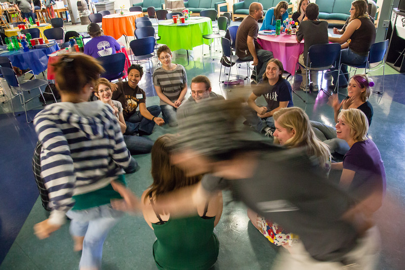 """UAF resident assistants play a game of duck, duck, goose while on break from their training before students enter the residence halls for the fall semester Thursday, August 16, 2012 at the Hess Rec Center. About 40 RAs attended the training.  <div class=""""ss-paypal-button"""">Filename: LIF-12-3498-93.jpg</div><div class=""""ss-paypal-button-end"""" style=""""""""></div>"""