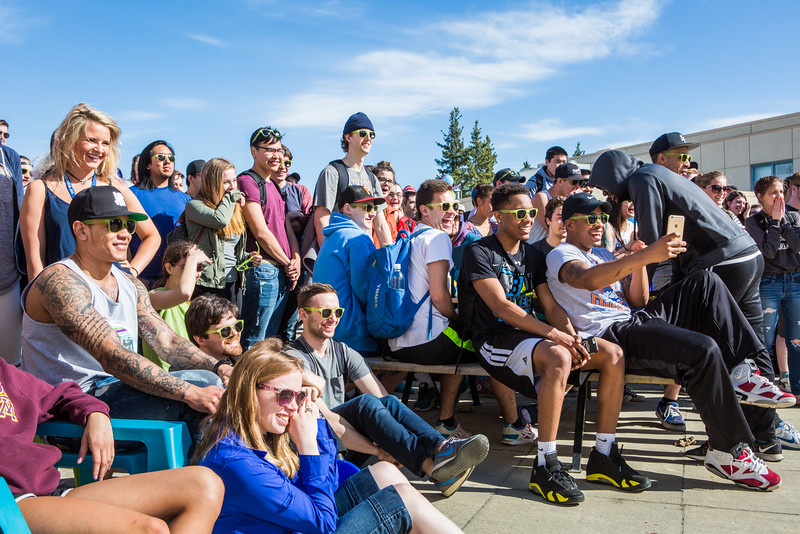 """The audience reacts to the 2016 SpringFest dance off on campus.  <div class=""""ss-paypal-button"""">Filename: LIF-16-4879-90.jpg</div><div class=""""ss-paypal-button-end""""></div>"""