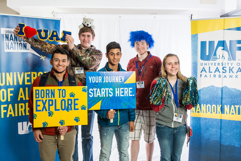 """Future UAF students and family members pose during Inside Out.  <div class=""""ss-paypal-button"""">Filename: LIF-16-4839-30.jpg</div><div class=""""ss-paypal-button-end""""></div>"""