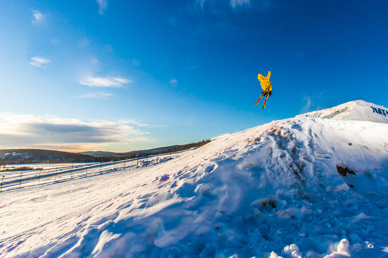 """Students enjoy some of the features of UAF's terrain park on a spring afternoon.  <div class=""""ss-paypal-button"""">Filename: LIF-13-3746-35.jpg</div><div class=""""ss-paypal-button-end"""" style=""""""""></div>"""