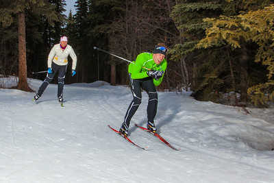 UAF students Ian Wilkinson and Raphaela Sieber enjoy a morning loop around the campus ski trails.  Filename: LIF-12-3348-68.jpg