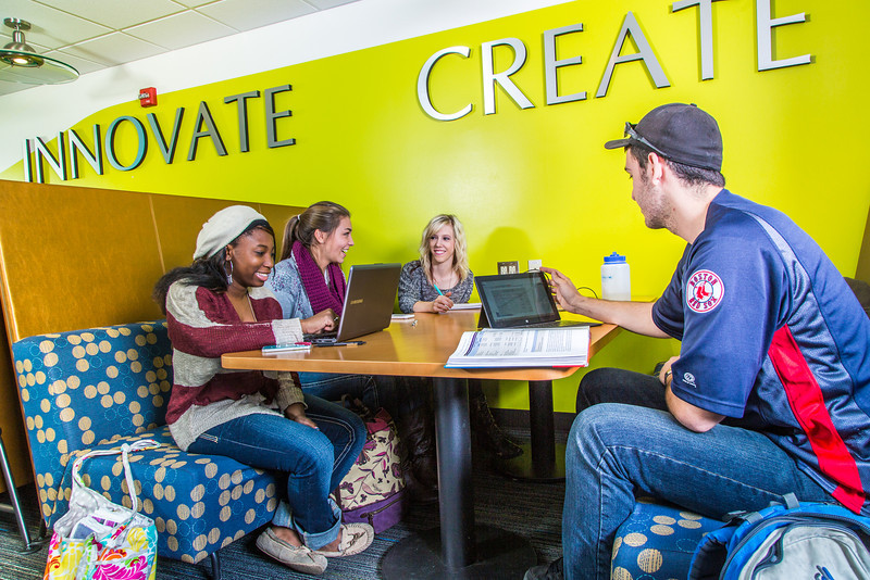"""Students mingle and study in the Nook computer lounge in the Bunnell Building on the Fairbanks campus.  <div class=""""ss-paypal-button"""">Filename: LIF-13-3987-42.jpg</div><div class=""""ss-paypal-button-end"""" style=""""""""></div>"""