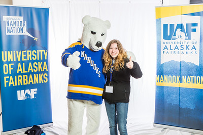 Future UAF students and family members pose with the Nanook mascot during Inside Out.  Filename: LIF-16-4839-72.jpg