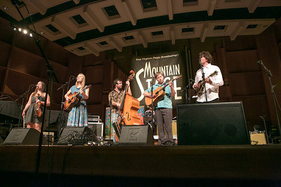 The nationally acclaimed bluegrass band Bearfoot performed during one of two live recorded performances of the nationally broadcast radio show Mountain Stage in the Davis Concert Hall Aug. 17 and 18. The shows were sponsored by UAF Summer Sessions and KUAC-FM.  Filename: LIF-12-3502-215.jpg