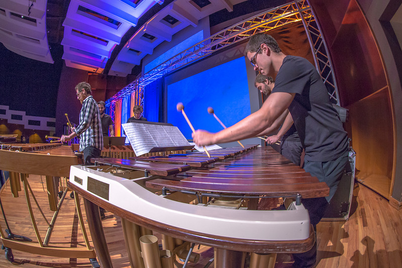 """Percussion students in Prof. Morris Palter's Ensemble 64.8 perform in the Davis Concert Hall as guests arrive for the chancellor's annual convocation address.  <div class=""""ss-paypal-button"""">Filename: LIF-13-3945-22.jpg</div><div class=""""ss-paypal-button-end"""" style=""""""""></div>"""