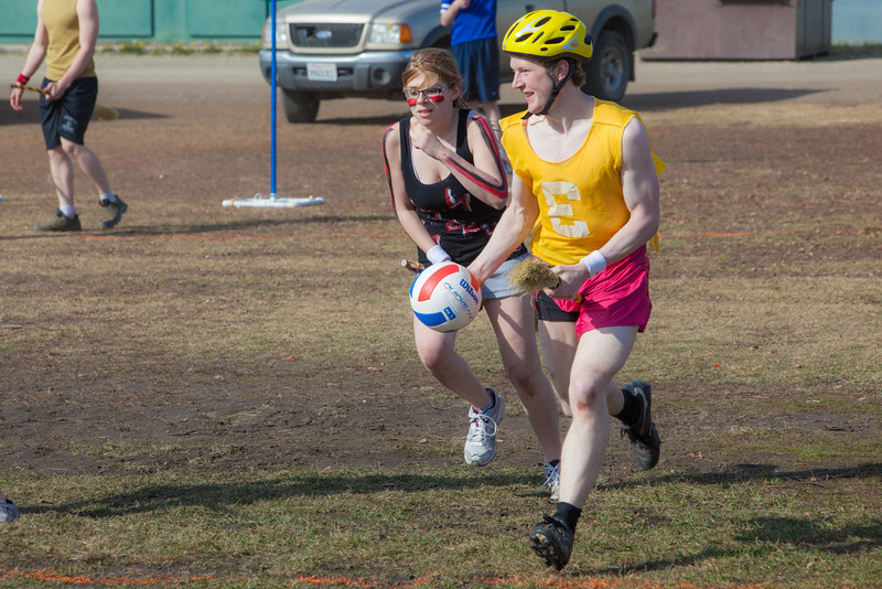 """Participants in the quidditch club, UAF's newest intramural sport, play a competitive match during SpringFest 2012.  <div class=""""ss-paypal-button"""">Filename: LIF-12-3382-42.jpg</div><div class=""""ss-paypal-button-end"""" style=""""""""></div>"""