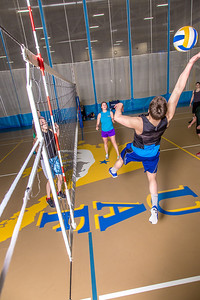 Intramural volleyball action on a Tuesday night at the Student Recreation Center.  Filename: LIF-14-4111-184.jpg