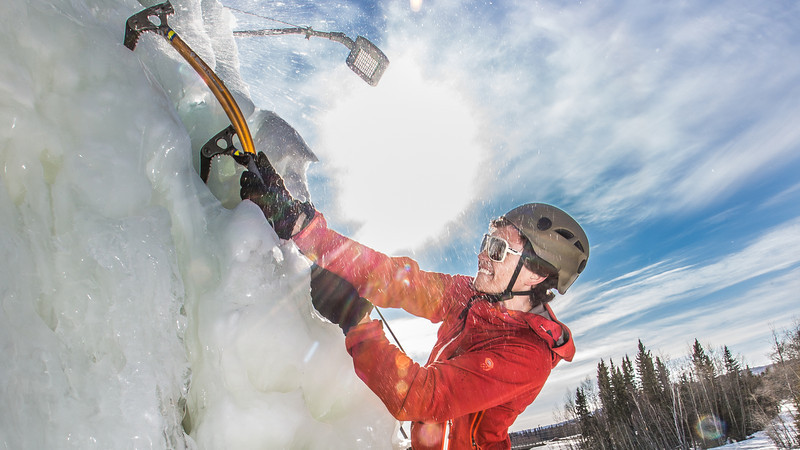 """Engineering major Ryan Kudo enjoys a late season climb up the UAF ice wall on April 4.  <div class=""""ss-paypal-button"""">Filename: LIF-14-4132-174.jpg</div><div class=""""ss-paypal-button-end"""" style=""""""""></div>"""