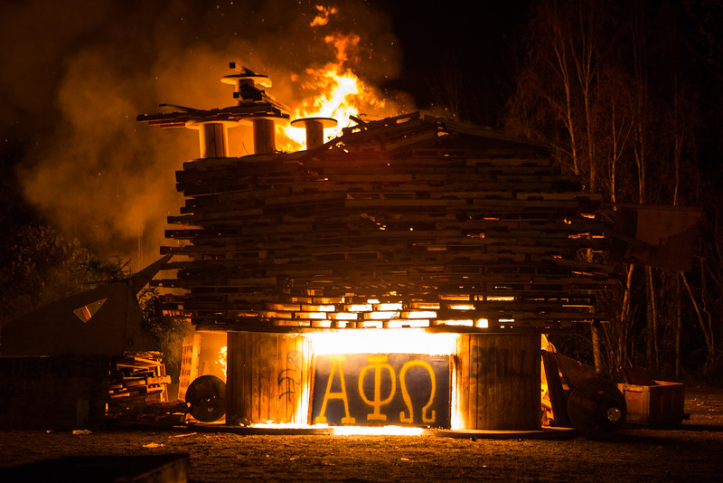 """One of several bonfires burns at the 2014 traditional Starvation Gulch event on the Fairbanks campus.  <div class=""""ss-paypal-button"""">Filename: LIF-14-4333-33.jpg</div><div class=""""ss-paypal-button-end""""></div>"""