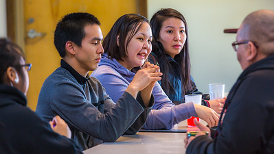 Students relax after class in the Sacket Hall dining room on UAF's Kuskokwim Campus in Bethel.  Filename: LIF-16-4859-046.jpg